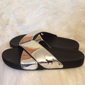 New Victoria Secret Silver Slides❤️